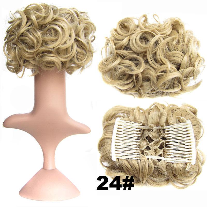 Clip In Hair Bun Chignon Piece Updo Cover Hair Extension Body Wavy For Women 6