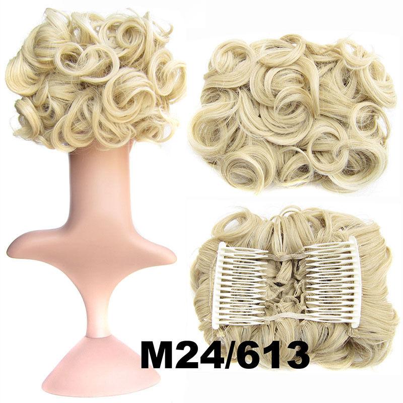 Clip In Hair Bun Chignon Piece Updo Cover Hair Extension Body Wavy For Women 7