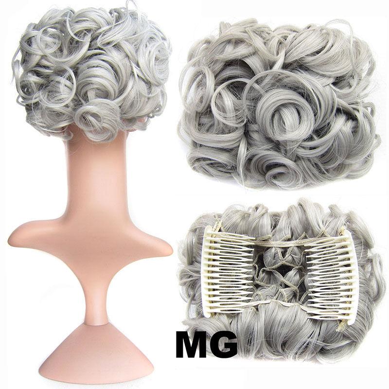 Clip In Hair Bun Chignon Piece Updo Cover Hair Extension Body Wavy For Women 9