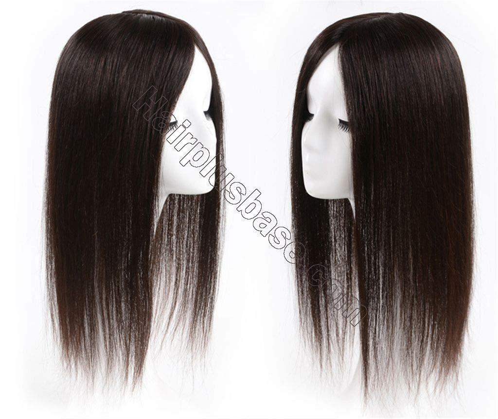 Clip in Human Hair Crown Hairpiece 3.5 x 5.5 inches Hand Tied Silk Base Hair Topper for Thinning Hair 2