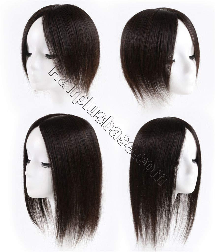 Clip in Human Hair Crown Hairpiece 3.5 x 5.5 inches Hand Tied Silk Base Hair Topper for Thinning Hair 3