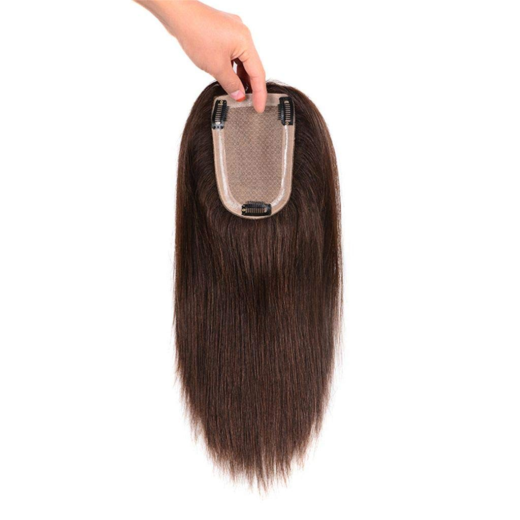 Clip in Human Hair Crown Hairpiece 3.5 x 5.5 inches Hand Tied Silk Base Hair Topper for Thinning Hair