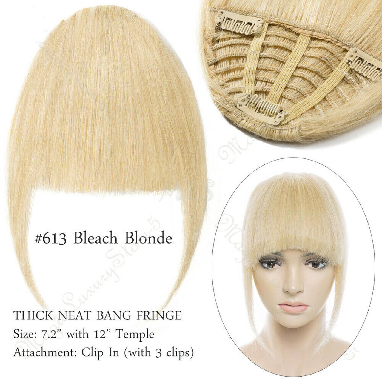 Clip In Human Hair Extensions Neat Bangs Fringe Remy Human Hairpiece 25g Or 50g 3