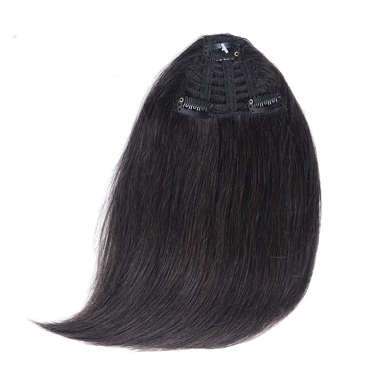 Clip In Human Hair Extensions Neat Bangs Oblique Fringe Remy Human Hairpiece 25g Or 50g 4