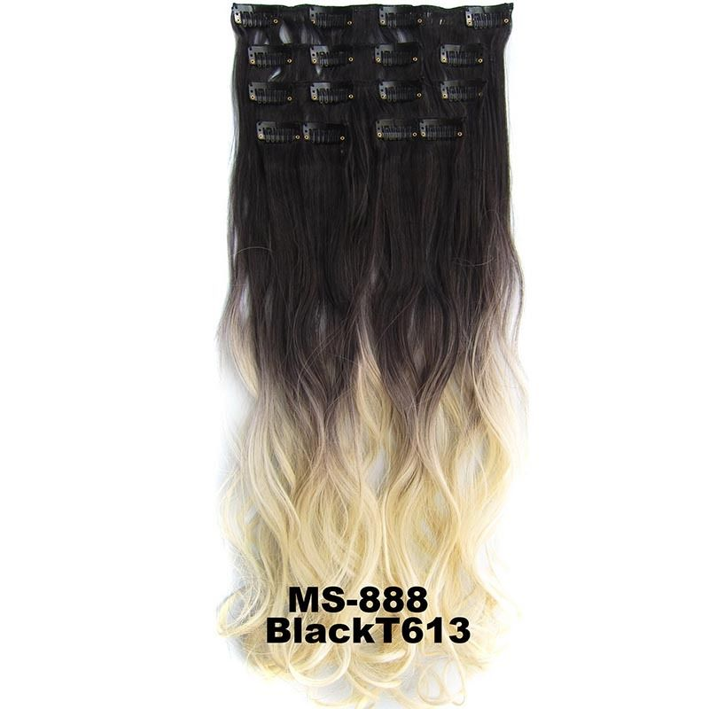 Clip In/On Dip Dye Ombre  Full Head Synthetic Hair Extensions Body Wave 7pcs 4