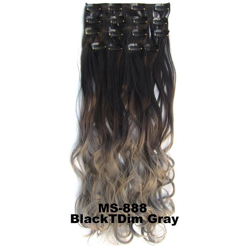 Clip In/On Dip Dye Ombre  Full Head Synthetic Hair Extensions Body Wave 7pcs 5