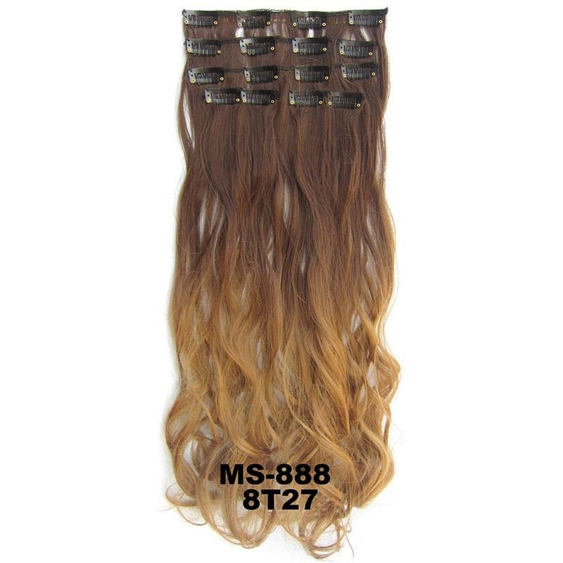 Clip In/On Dip Dye Ombre  Full Head Synthetic Hair Extensions Body Wave 7pcs 8