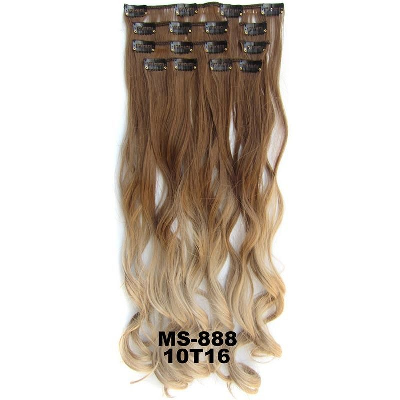 Clip In/On Dip Dye Ombre  Full Head Synthetic Hair Extensions Body Wave 7pcs 9