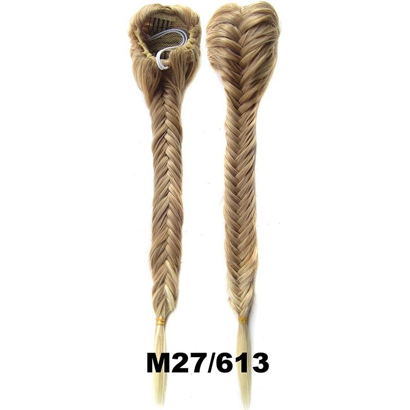 Clip In On Drawstring Fishtail Plaited Braid Ponytail Hair Extensions Body Wavy For Women 2
