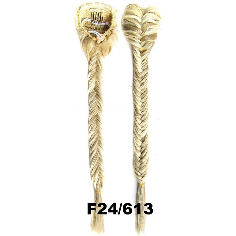 Clip In On Drawstring Fishtail Plaited Braid Ponytail Hair Extensions Body Wavy For Women 26