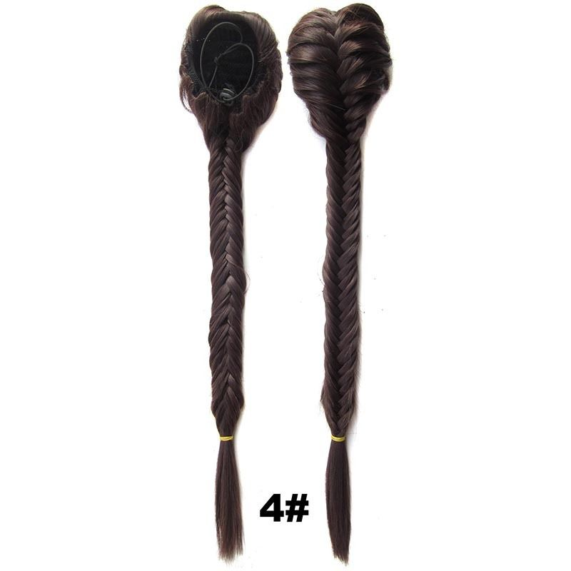 Clip In On Drawstring Fishtail Plaited Braid Ponytail Hair Extensions Body Wavy For Women 6