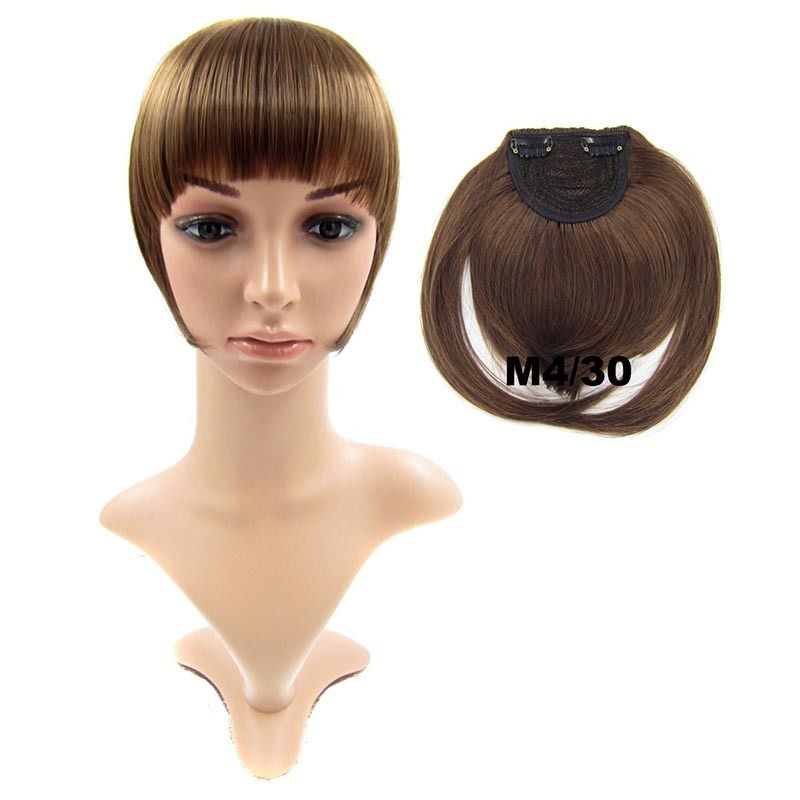 Clip In/On Neat Bangs Fringes With Temples Hair Extensions Straight 4
