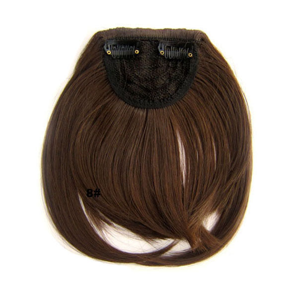 Clip In/On Neat Bangs Fringes With Temples Hair Extensions Straight 6