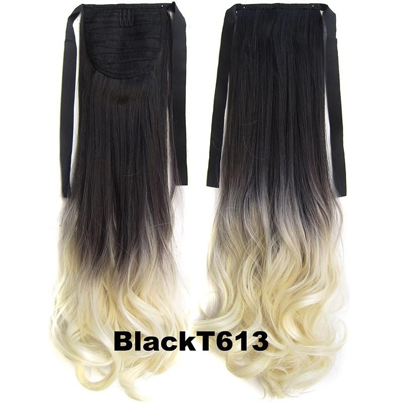 Clip In/On Ponytail Hair Extensions Dip Dye Ombre Pony Tail Hairpiece Body Wave 1