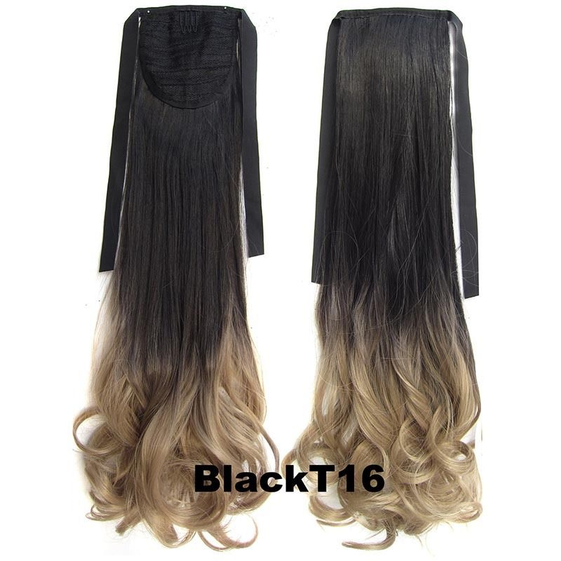 Clip In/On Ponytail Hair Extensions Dip Dye Ombre Pony Tail Hairpiece Body Wave 11