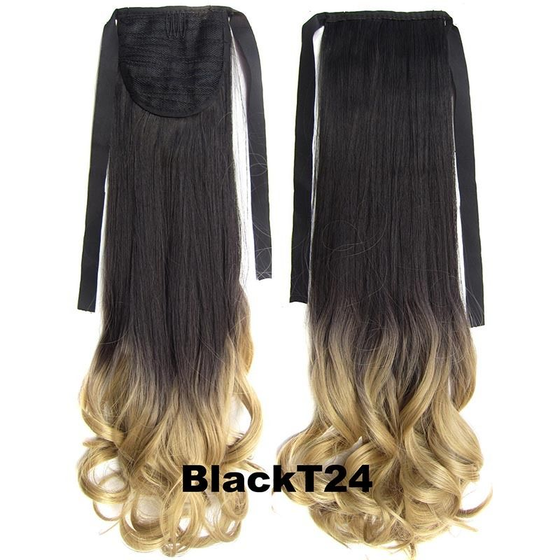 Clip In/On Ponytail Hair Extensions Dip Dye Ombre Pony Tail Hairpiece Body Wave 12