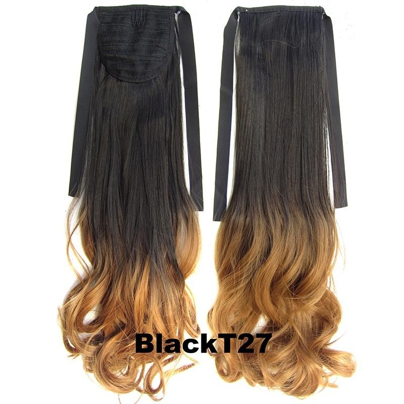 Clip In/On Ponytail Hair Extensions Dip Dye Ombre Pony Tail Hairpiece Body Wave 13