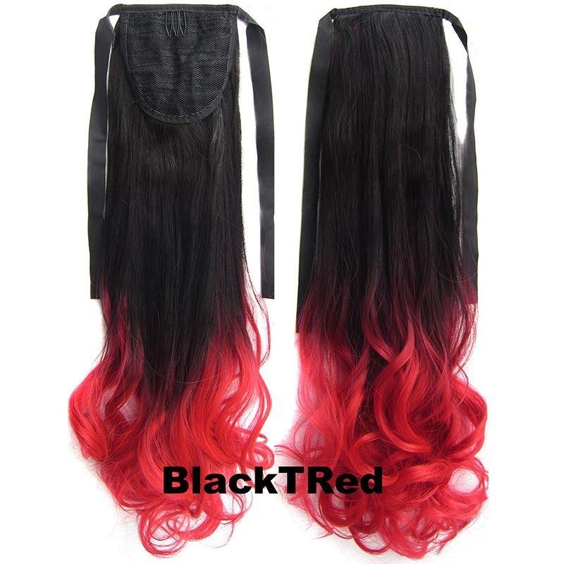 Clip In/On Ponytail Hair Extensions Dip Dye Ombre Pony Tail Hairpiece Body Wave 2