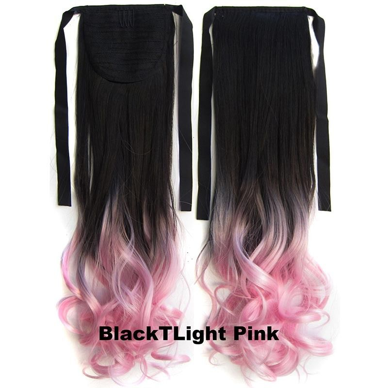 Clip In/On Ponytail Hair Extensions Dip Dye Ombre Pony Tail Hairpiece Body Wave 4