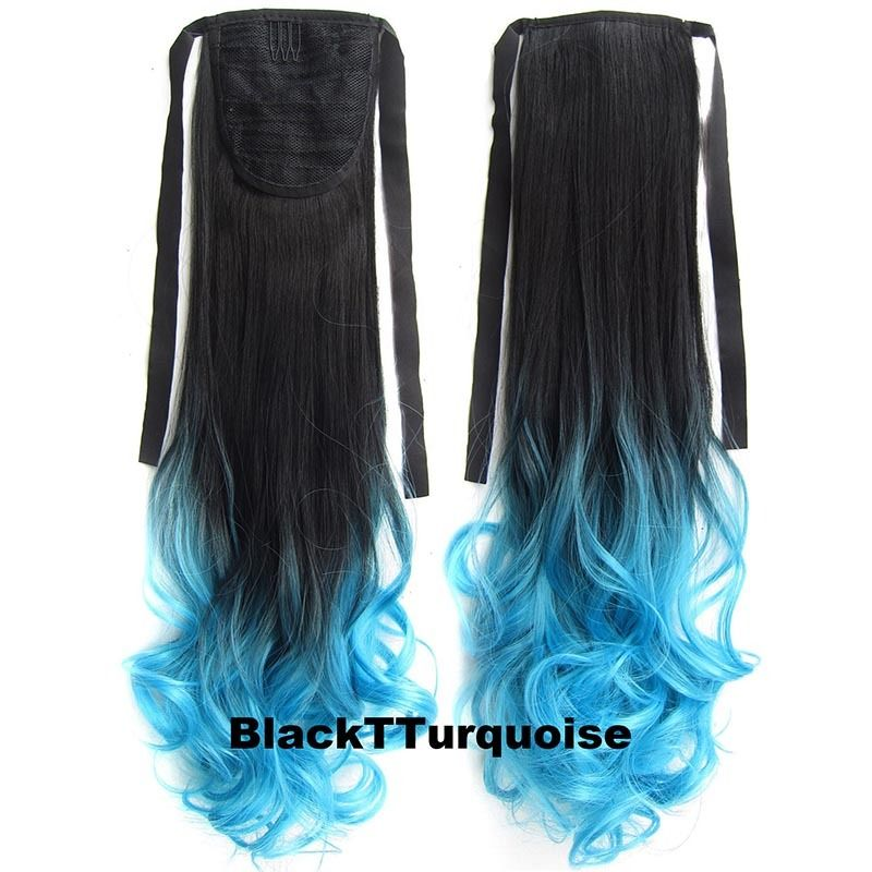 Clip In/On Ponytail Hair Extensions Dip Dye Ombre Pony Tail Hairpiece Body Wave 5