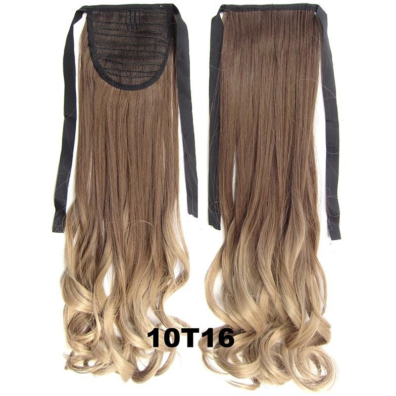 Clip In/On Ponytail Hair Extensions Dip Dye Ombre Pony Tail Hairpiece Body Wave 9