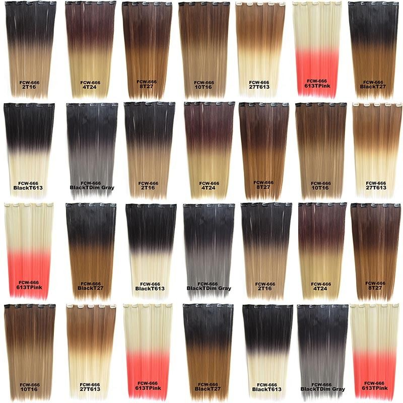 Clip In/On Synthetic Dip Dye Ombre Five Clips Hairpiece Hair Extensions Straight