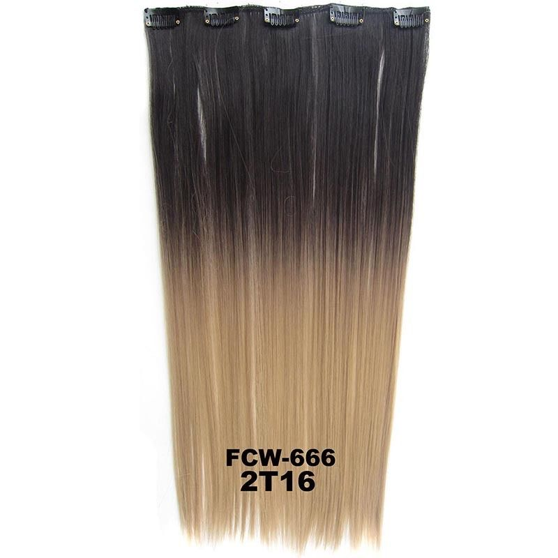 Clip In/On Synthetic Dip Dye Ombre Five Clips Hairpiece Hair Extensions Straight 2