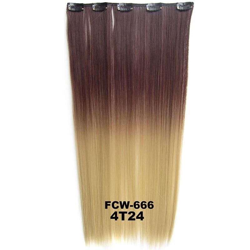 Clip In/On Synthetic Dip Dye Ombre Five Clips Hairpiece Hair Extensions Straight 3