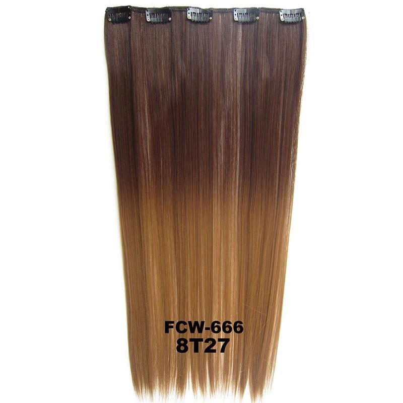 Clip In/On Synthetic Dip Dye Ombre Five Clips Hairpiece Hair Extensions Straight 4