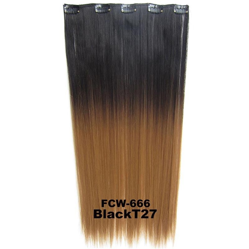 Clip In/On Synthetic Dip Dye Ombre Five Clips Hairpiece Hair Extensions Straight 8