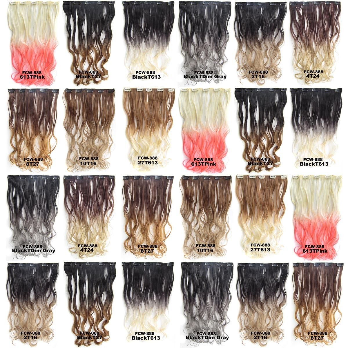 Clip In Synthetic Dip Dye Ombre Five Clips Hairpiece Hair Extensions  Body Wave