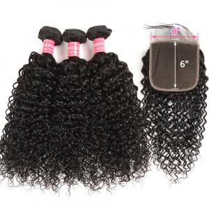 Curly 6x6 Inch Virgin Human Hair Lace Closure With 3 Bundles Curly Hairstyles