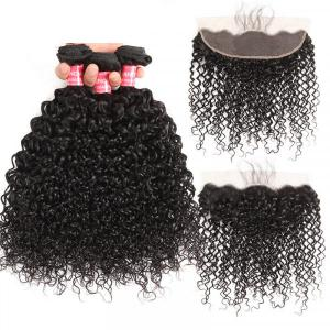 Curly Brazilian Weave 4 Bundles With Lace Frontal Human Virgin Hair