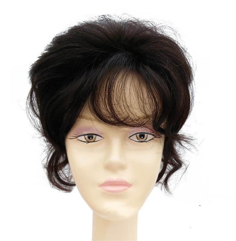Curly Hair Covered With White Hair 100% Human Hair Top Hairpiece