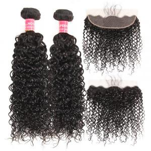 Curly Hair Weave 2 Bundles With 13x4 Lace Frontal Human Hair Weave