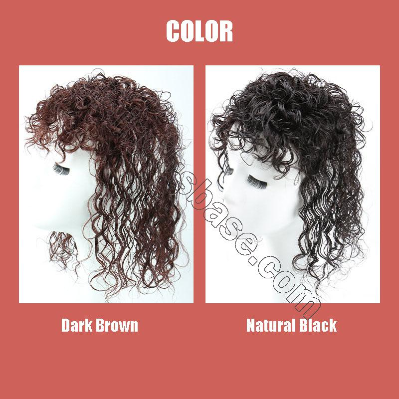 Curly Human Hair Topper Clip on Topper Wiglet for Women 4