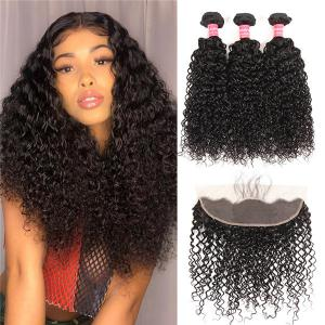 Curly Lace Frontal Closure With 3 Bundles Lace Frontal Brazilian Hair
