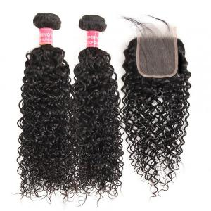 Curly Weave Hair 2 Bundles With 4*4 Lace Closure Virgin Human Hair