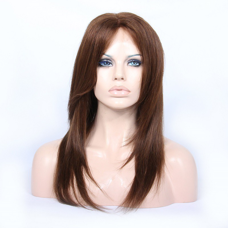 Customized Lace Front Wigs Brazilian Virgin Human Hair Natural Straight #4 Color 0