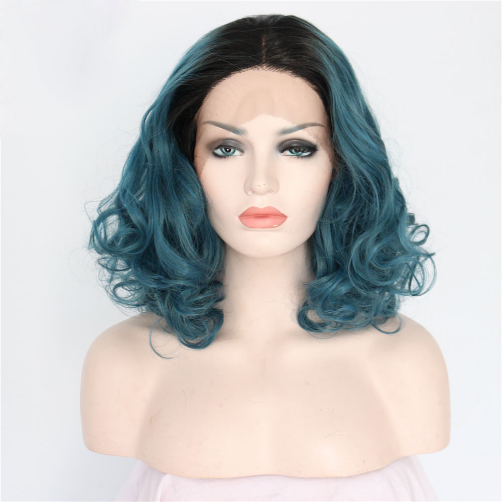 Dark Boots Blue Curly Bob Synthetic Lace Front Wig