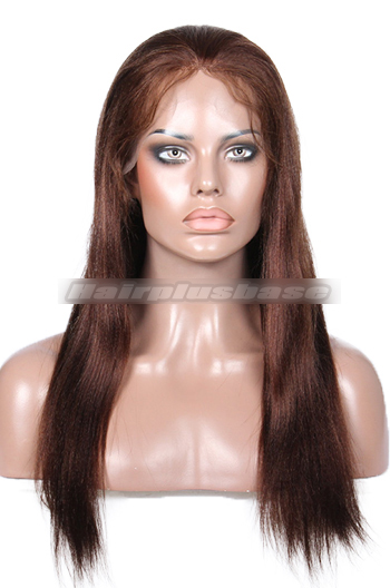 Dark Brown Color 4# Light Yaki Full Lace Wigs Indian Remy Hair