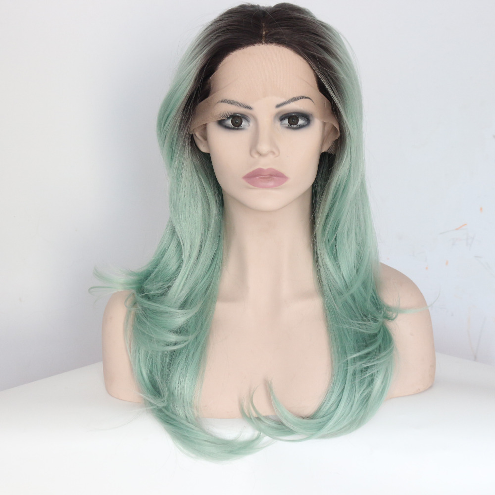 Dark Roots Green Wavy Synthetic Lace Front Wigs For Black Women