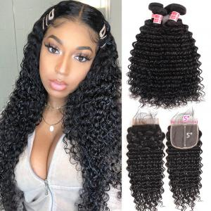 Deep Wave 4 Bundles With Closure 5x5 Lace Closure With Baby Hair