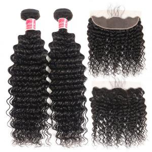 Deep Wave Hair 2 Bundles With 13x4 Lace Frontal Human Virgin Hair