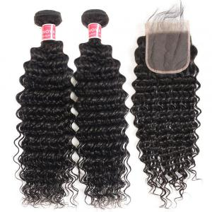 Deep Wave Hair 2 Bundles With Lace Closure Human Virgin Hair