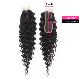 Deep Wave Hair 2x6 Inch Closure Medium Brown Lace Human Hair Closure