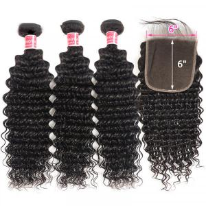 Deep Wave Hair 3 Bundles With 6x6 Inch Lace Closure Unprocessed Virgin Hair