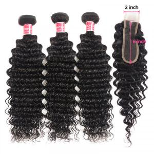 Deep Wave Human Hair Weave With 2x6 Size Closure Pre-Plucked With Baby Hair