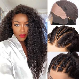 Deep Wave Pre-Made Fake Scalp Lace Front Wigs For Women With Pre-Plucked Hairline
