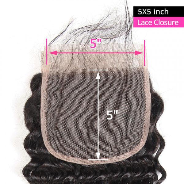 Deep Wave Virgin Hair 5*5 Lace Closure Human Hair Closure 2
